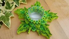 Hey, I found this really awesome Etsy listing at https://www.etsy.com/listing/205268446/hand-quilled-lime-green-leaf-tea-light
