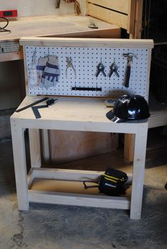 Woodworking For Kids Kids workbench for Christmas. Tools included(Diy Bench For Kids) Wood Projects For Kids, Woodworking Projects For Kids, Kids Wood, Woodworking Crafts, Kids Workbench, Woodworking Workbench, Fine Woodworking, Garage Workbench, Industrial Workbench