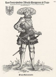 Title: Porträt der Marktgrafen Albrecht von Brandenburg              Tags: Hat, Neckchain, Armour, Dagger, Sword              Date: ca. 1540                        Artist: Erhard Schoen              Provenance: Germany              Collection: Germanisches Nationalmuseum