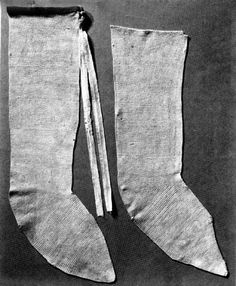 Stocking of st Germanus - from 12th century are made of linen. Reconstruction in Abegg-Stiftung Foundation, Bern