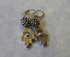 Dotted Bali Silver, Smooth and Corrugated Silver and Hamsa Bead Frame Earrings
