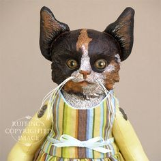 Cat Art Doll OOAK Original Calico Kitten Hand Painted Folk