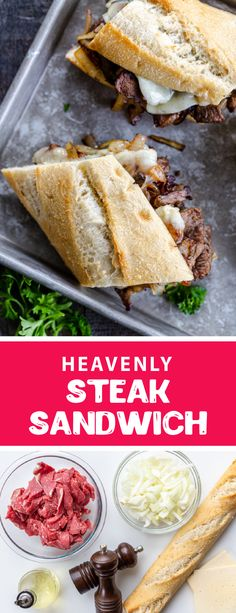 Steak Sandwich Recipes, Soup And Sandwich, Meat Recipes, Cooking Recipes, Breakfast Sandwich Recipes, Sandwich Ideas, Recipies, Beef Dishes, Food Dishes