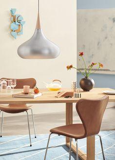 FRITZ HANSEN: The Orient lamp casts a soft light wit . Furniture Styles, Large Furniture, Furniture Design, Scandinavian Lighting, Scandinavian Design, Bois Diy, Suspended Lighting, Luxury Furniture Brands, Fritz Hansen