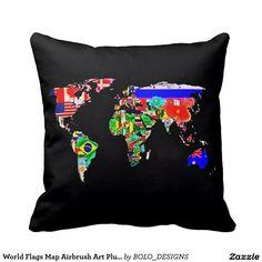 World Flags Map Airbrush Art Plush Throw Pillow