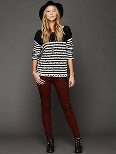 Striped In Crochet Pullover. MAROON