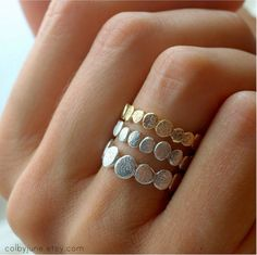 14k Gold and Sterling Silver Pebble Stacking Rings Set Nature