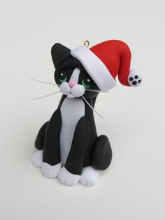 Polymer Clay Black Tuxedo Cat Christmas Ornament