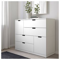 IKEA - NORDLI, dresser, white, You can use one modular chest of drawers or combine several to get a storage solution that perfectly suits your space. You can easily create your own personal design by mixing chests of different colors. Tall Drawers, Painted Drawers, Chest Of Drawers, Upcycled Furniture, Home Furniture, Cheap Furniture, Nordli Ikea, Bedroom Storage, Bedroom Decor
