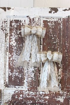 Two burlap and lace wedding/christmas/fall bows