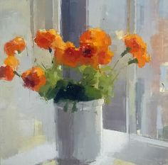 Orange Flowers by Lisa Breslow   16×16″  Oil and Pencil on Panel