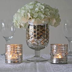 Mercury Silver Footed Vases - 10 Unique Wedding Centrepieces #wedding www.theweddingofmydreams.co.uk