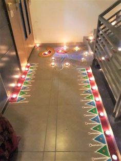 30 Dazzling Diwali Decorations DIY Ideas to Brighten-Up Your Home - Lifestyle Spunk Easy Rangoli Designs Diwali, Rangoli Designs Flower, Small Rangoli Design, Colorful Rangoli Designs, Rangoli Ideas, Diwali Diy, Diwali Craft, Diwali Rangoli, Rangoli Designs Images