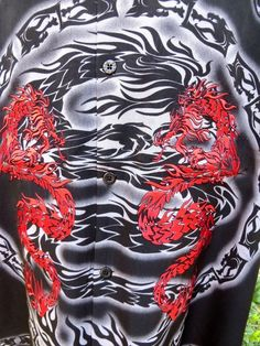 DRAGONFLY SHIRT XL SHOGUN Black Tribal Dragon Embroidered NWT Motor #Dragonfly #ButtonFront