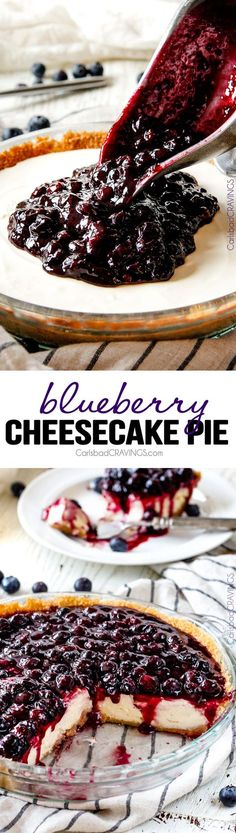 Blueberry Cheesecake Pie - This is my family's favorite summer dessert and its made extra easy in pie form! The cheesecake is creamy, rich and delicious and the homemade blueberry sauce is sweet and tangy and simply the best ever!