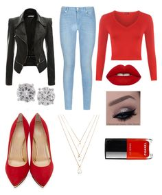 """""""Red & black❤️"""" by caitlin-z ❤ liked on Polyvore featuring 7 For All Mankind, WearAll, Bottega Veneta, Charlotte Olympia, Forever 21 and Lime Crime"""