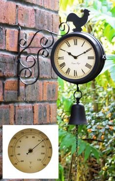 Cockerel And Bell   47cm (18¾in) Garden Clock With Thermometer   By About  Time™