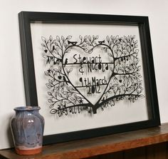 Happily ever after - a customised, hand cut, paper cut, a perfect wedding present. Crafty Lou Louise McLaren #papercut