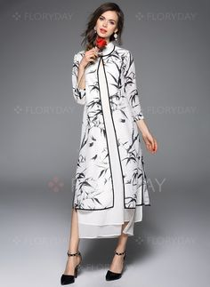 Silk Linen Others Maxi Casual Buttons Dresses (1008977) @ floryday.com