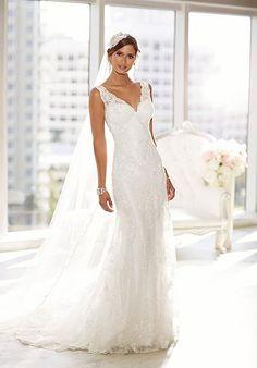 D1688 dress (Slim A-Line, V-Neck, Straps,  Sleeveless ) from  Essense of Australia 2015, as seen on juliannahs.bride.ca. Click for Similar & for Store Locator.