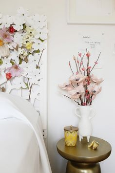 west elm designlovefest paper flowers diy headboard project