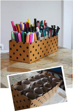 Shoe box + toilet paper tubes (or paper towel tubes cut) = storage for pens and other art supplies.