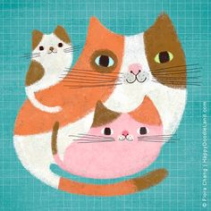Cat Family, 8 x 8 Art Print by flora chang | HappyDoodleLand on Etsy