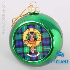 Gordon Clan Crest and Tartan Christmas Ornament. Free worldwide shipping available