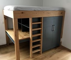 Oak loft bed with wardrobe and desk - child& bed - - Bedroom Storage For Small Rooms, Small Space Bedroom, Loft Bed Storage, Loft Bed Plans, Childrens Beds, How To Make Bed, Dream Rooms, Bunk Beds, Bedroom Decor