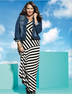Full Figure Striped Maxi Dress by Lane Bryant | Lane Bryant     Apple approved!  Just don't go for the horizontal stripes!