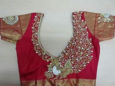 hand work on red blouse
