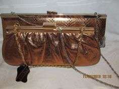 Nwt LOVELY, NY bronze chain clutch purse lot of 2 $60 retail wholesale