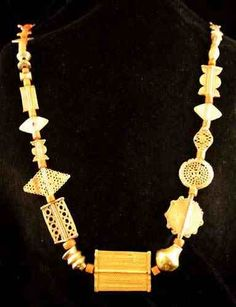 Akan Gold Bead Necklace -       Origin:  Ghana Circa:  18 th Century AD  to 19 th Century AD Collection:  Jewelry Style:  ...