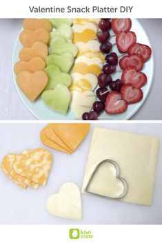 Valentine Snack Platter DIY! This fruit and cheese platter is a yummy and healthy way to celebrate Valentine's without all the sugar! While I had l to take the lead any sharp cutting, my kids helped shape many of these healthy snacks into heart shapes. Then, of course, they gobbled up their delicious heart creations!