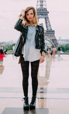 La blogueuse mode Clémentine du blog Fruity Girl porte la chemise CALIENTE Sud express! Un look rock dans l'esprit bleached.