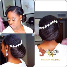 Get a gorgeous big-day look with your bridal hair! Elegant bridal hair updo is as important as your bridal dress. Getting the perfect bridal updo that will accentuate your face… Bridal Hair Updo, Hair Comb Wedding, Wedding Hair And Makeup, Hair Makeup, Black Brides Hairstyles, Bride Hairstyles, Trendy Hairstyles, Hair Dos, Hair Pieces