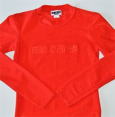 90s Red Tight Stretch Long Sleeve Crew Neck DKNY Jeans Top -- Made in USA by HandsomePeteShop on Etsy