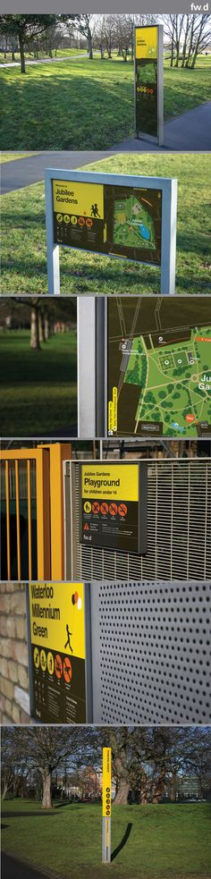 Daisy by fwdesign. A modular wayfinding sign system for parks… Park Signage, Directional Signage, Wayfinding Signs, Outdoor Signage, Environmental Graphic Design, Environmental Graphics, Lanscape Design, Sign Board Design, Sign System