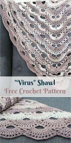 Virus Shawl Free Crochet Pattern by PatternsValley Shawl Crochet, Crochet Prayer Shawls, Baby Afghan Crochet, Crochet Shawls And Wraps, Crochet Scarves, Crochet Clothes, Crochet Stitches, Free Crochet, Knit Crochet