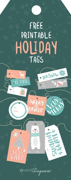 Download and print these darling holiday gift tags for free! Christmas Gift Tags Printable, Holiday Gift Tags, Free Christmas Printables, Diy Christmas Gifts, Christmas Sayings, Free Printables, Christmas Ideas, Teal Christmas Decorations, Gift Labels