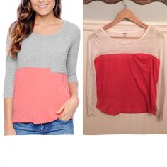 """Anthro Splendid Colorblock Top White Orange Sz S  Splendid from Anthropologie    Size Small   Colorblock pocket top. Heathered. Slightly see-through.   White & coral orange (model pics in gray & pink)   Excellent used condition!    Bust: 17.25"""" across the front, lying flat. Has stretch!   Length: 22.5"""" from shoulder to hem.   ✳️ Bundle to Save 20%!  ❌ No Trades, Holds, PP   100% Authentic!    Suggested User // 800+ Sales // Fast Shipper // Best in Gifts Party Host!  Anthropologie Tops"""