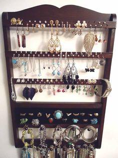 Jewelry Organizer Ring Holder Cocoa Brown Oak