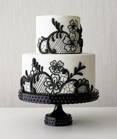 Black Lace Elegant Cake-- for cutting tier, instead of flower