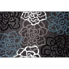 World Rug Gallery Alpine Contemporary Modern Floral Flowers Rug, Dark Grey