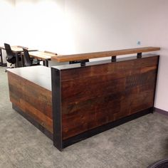 Adam Reclaimed Wood & Steel Reception Desk by RevivalSupplyCo on Etsy https://www.etsy.com/transaction/1129075673