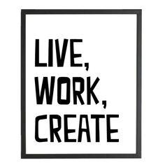 Poster 'live, work, create'Zwart wit poster verkrijgbaar in het formaat 21 x 30 cmDe poster is gedrukt op 300 grams glanskartonDe poster wordt zonder de afgebeelde lijst geleverd.Merk: Dots lifestyleTekst: do more of what makes you h -