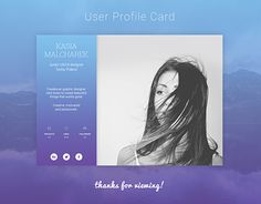 """Check out new work on my @Behance portfolio: """"User Profile Card UI Design"""" http://be.net/gallery/49780113/User-Profile-Card-UI-Design"""