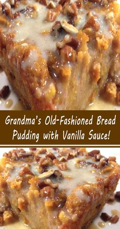 Quick Easy Desserts, Just Desserts, Delicious Desserts, Yummy Food, Tasty, Banana Pudding Desserts, Bread Pudding With Apples, Pudding Recipes, Old Fashioned Bread Pudding