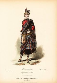 Costume of a Scottish woman, 19th century. Handcoloured lithograph after a design by Leon Sault from L'Art du Travestissement (The Art of Fancy Dress), Paris, c.1880. Sault was a theatre and opera designer and luxury fashion magazine publisher.  - stock photo