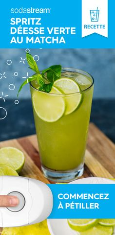 💚 This easy-to-make mocktail will have you in a spritzy state of mind all Spring long Green smoothies for all day energy Party Drinks, Fun Drinks, Healthy Drinks, Beverages, Alcohol Drink Recipes, Water Recipes, Refreshing Drinks, Summer Drinks, Mint Leaves Recipe